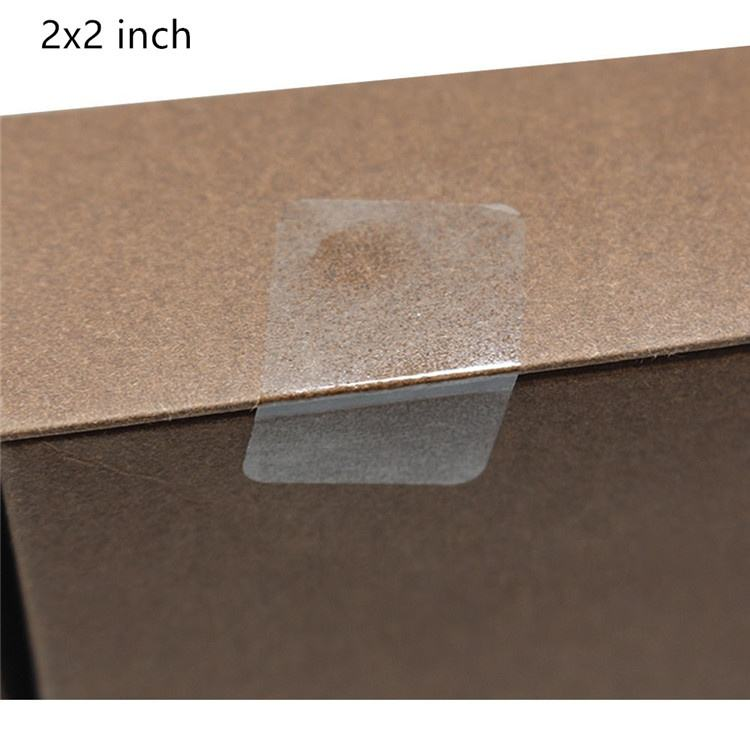 Hybsk 2x2 inch Rectangle Square Crystal Clear Retail Package Seals Circle Wafer Stickers/Transparent Labels 300 Per Roll