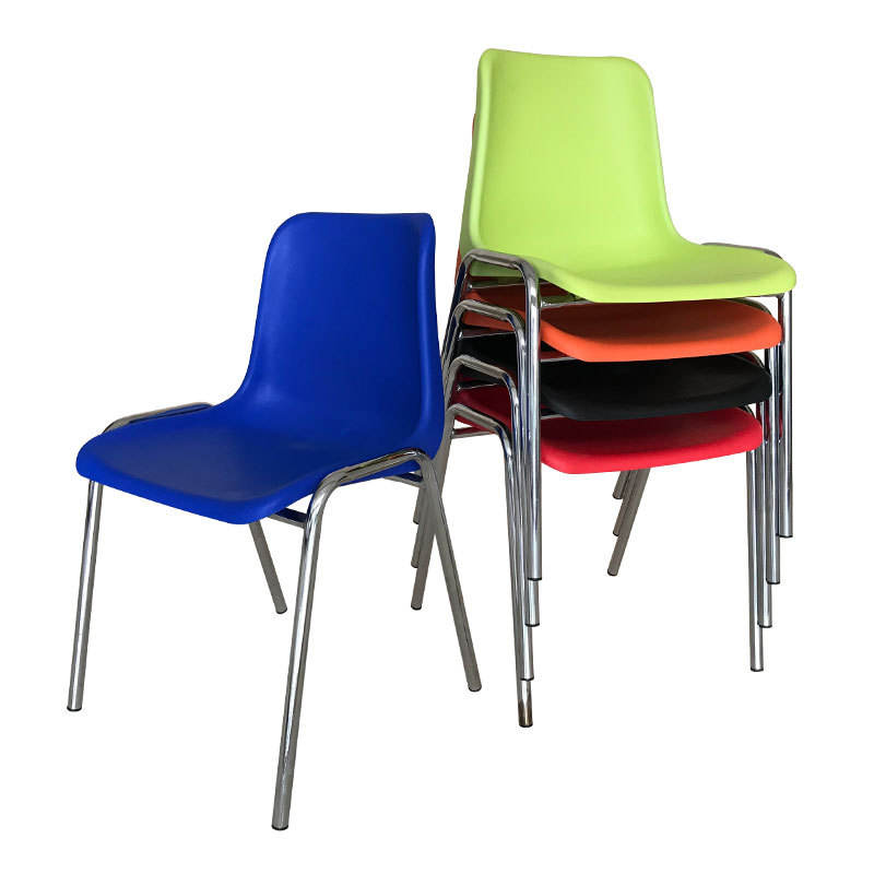 Discount High Quality Black School Chair England Stackable metal Frame PP Plastic Chair