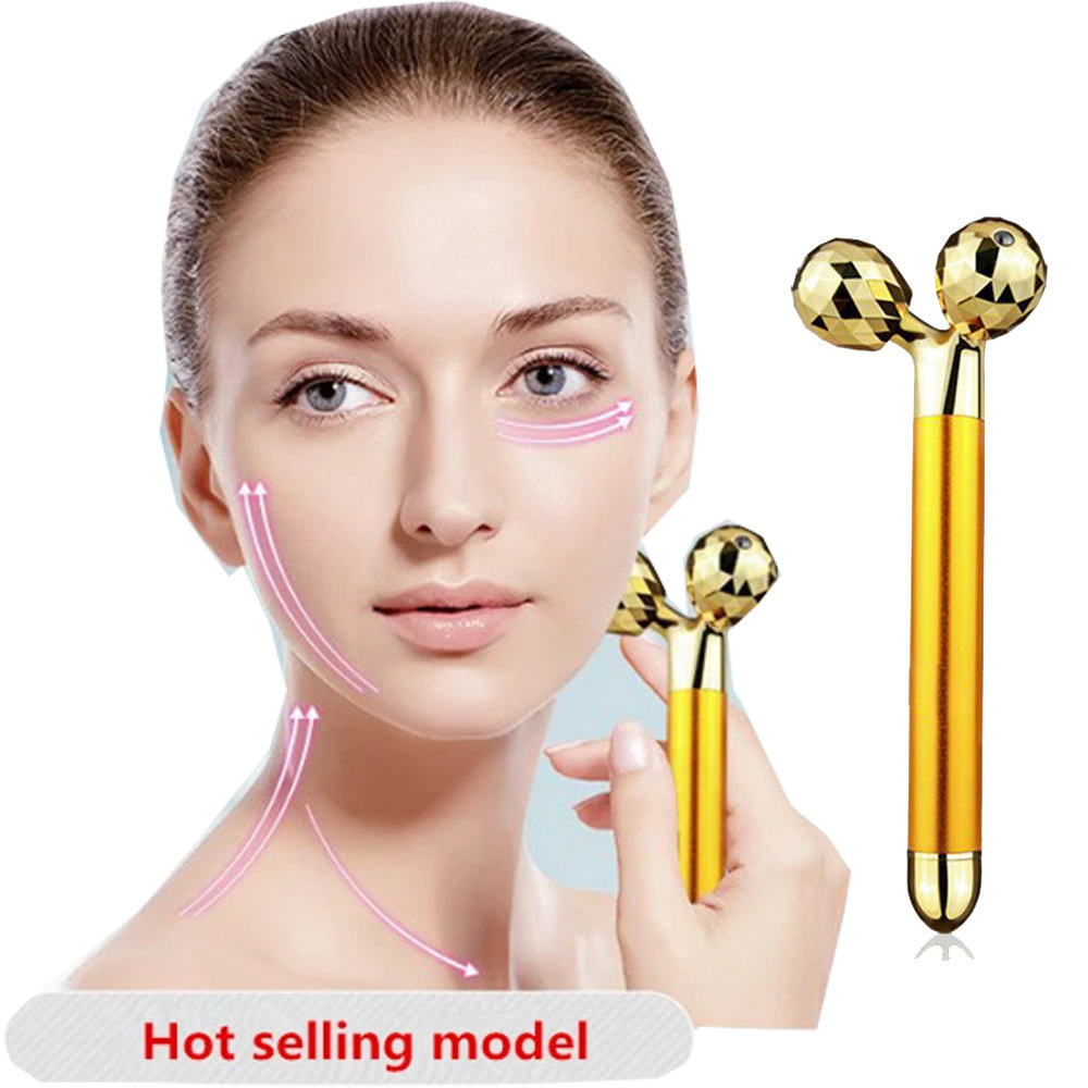High Quality 24K Gold Skin Care Face Massager 3D Roller Electric Sonic Depuffer Energy Beauty Bar New 3d Face Lift Roller