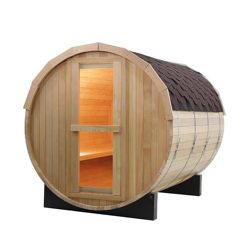 6 Person red cedar barrel sauna outdoor with wood burning stove