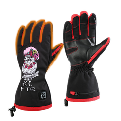 Manufacturer Fashion Thermo Printing Battery Heated Ski Gloves for Winter Outside Sports