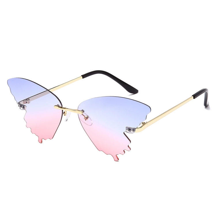 2020 Unique butterfly design,Tint gradient trend shades,Rimless women sunglasses