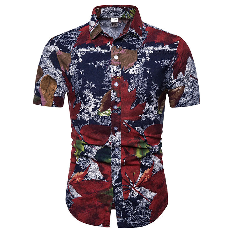 2020 Wholesale Men Leaf Printing Thin Summer Beach Holiday Short Sleeve Plus Size Shirt For Men With Comfortable