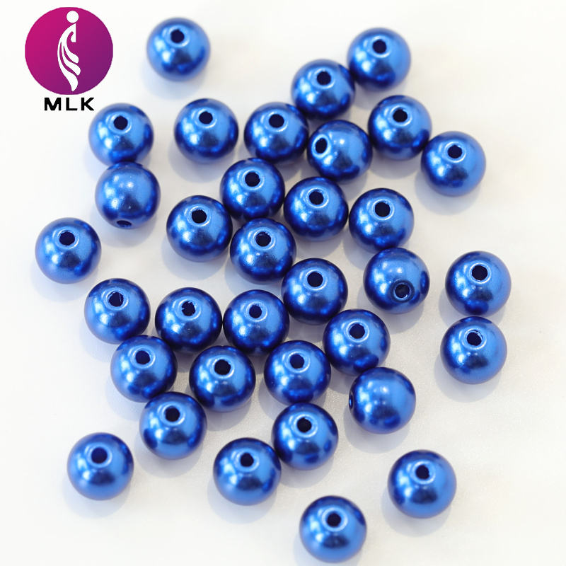 Best Selling Sapphire ABS Plastic Loose Round Sewing Pearls Large Hole Pearl