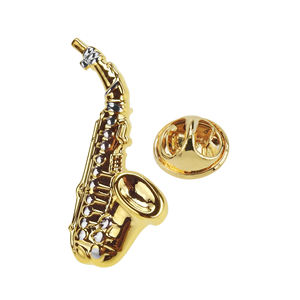 Music Instrument Gold Saxophone Lapel Pin Factory