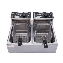 6L+6L Commercial Double Cylinder Electric Table Top Tempura Stainless Steel Fryer