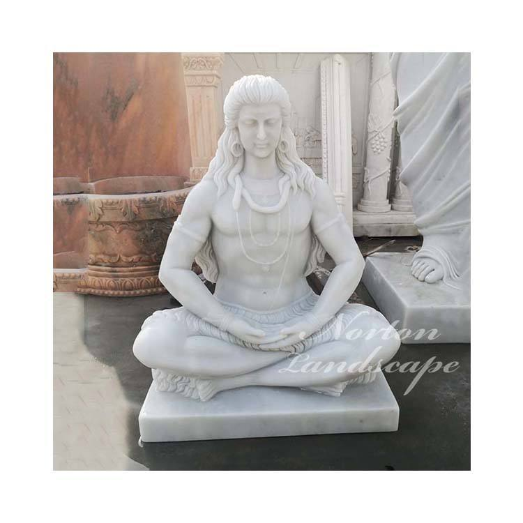 Modern Garden Decoration Religion Hindu God Sculpture Hand-carved Stone Lord Shiva White Marble Meditating Shiva Statue For Sale