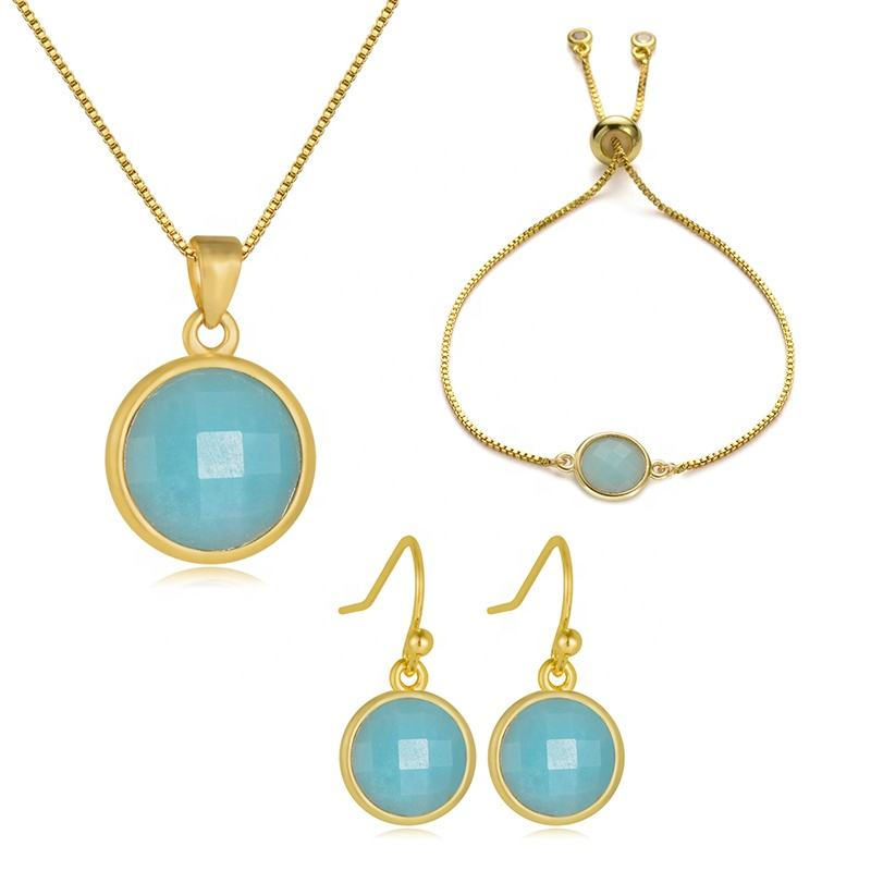Cliobeads Blue Chalcedony coin shape faceted 18k gold plated chain gemstone necklace bracelets earrings jewelry sets