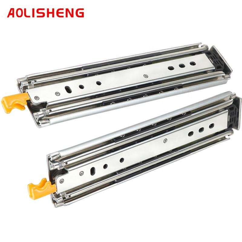 Heavy-duty drawer slide 76 mm wide ball bearing guide 3 sections fully extended fixed industrial slide with lock