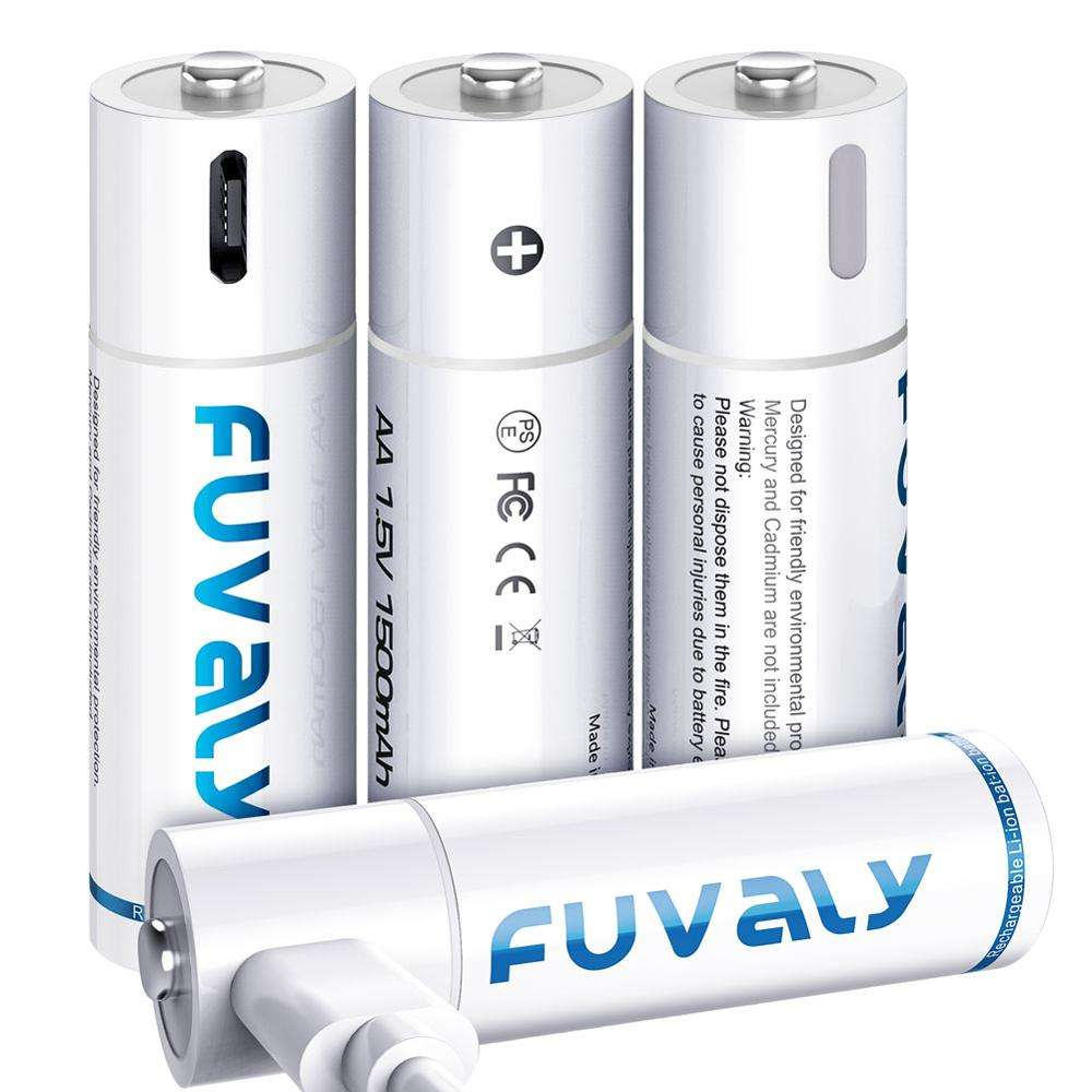 Rechargeable Lithium AA Batteries 1.5V 1500mAh Fast Charging Either by 5V Charger or Micro USB AA Batteries