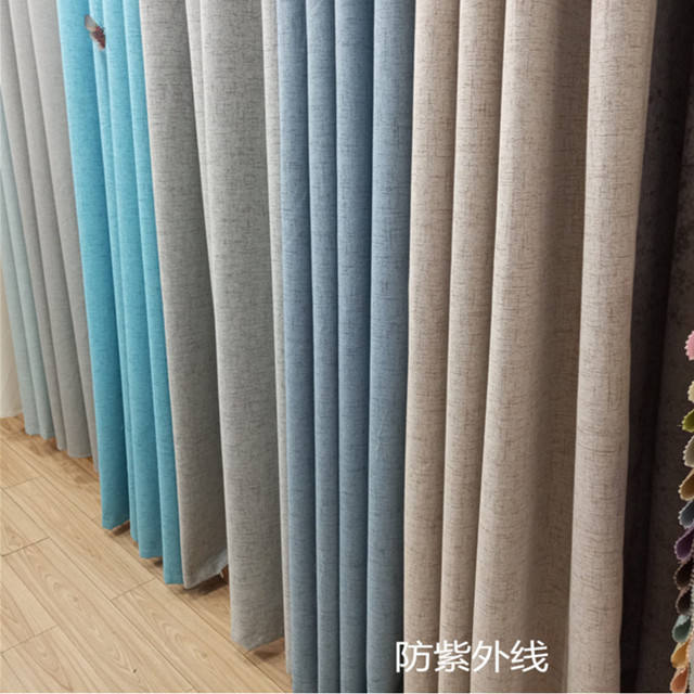 Anti-uv 4 pass silicon coated blackout linen fabric thermal coated blackout curtain fabric