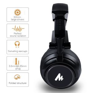 DJ Monitor Headphones Sound Quality Dynamic Over Ear Stereo Studio Real-Time Monitor Headphone