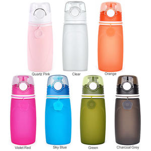 Customized Logo Silicone Collapsible Drinking Mini Bottle Foldable Water Bottle With Sealing Lid