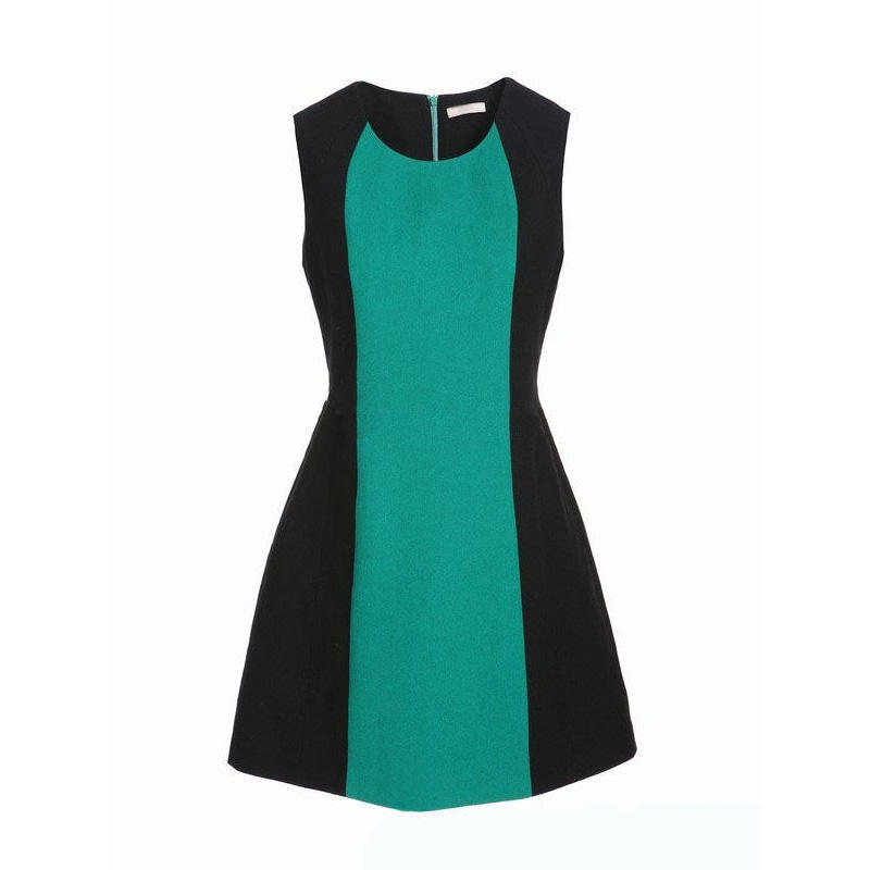 Top Fashion Elegant Sleeveless Contrast Color Peplum Dress Pictures Formal Dress Women