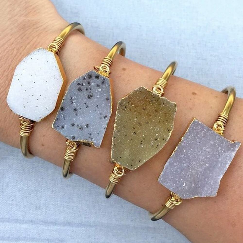 LS-A879 new arrival! natural druzy stone bangle with gold plated wire wrap cuff fashion open bangle bracelet for party