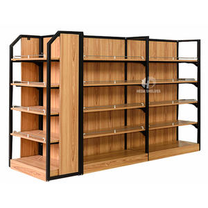 Wooden And Metal Display Shelves Gondola Shelving For Shopping Mall