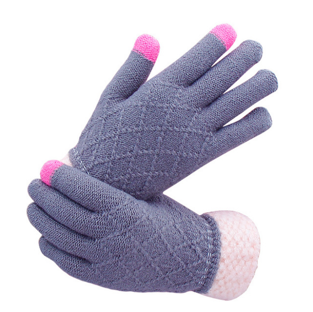 Custom Touch screen acrylic knitted doubld palm cartoon fashion winter hands magic gloves
