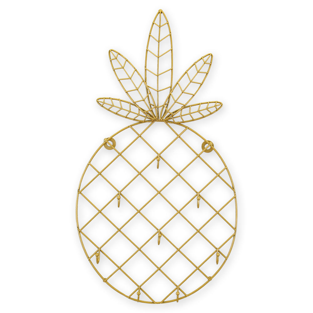 Wholesale Hot Sale Nordic Metal Wire Gold Pineapple Wall Art Hooks Decor For Sale Pineapple Key Hooks