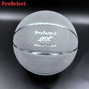 Proselect Glowing in The Dark Silver Reflective Light Up PU Basketball Ball