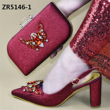 spring shiny sexy women high heel shoes and bag set for evening party