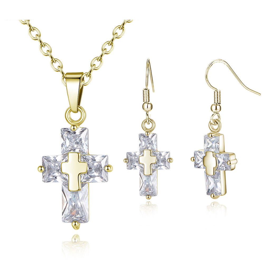 indian designer rhodium plating noble cross necklace earring Imitation jewellery