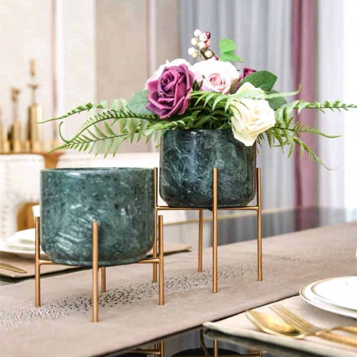 Luxury green marble home accessories decoration with golden metal base for living room bed room dining room