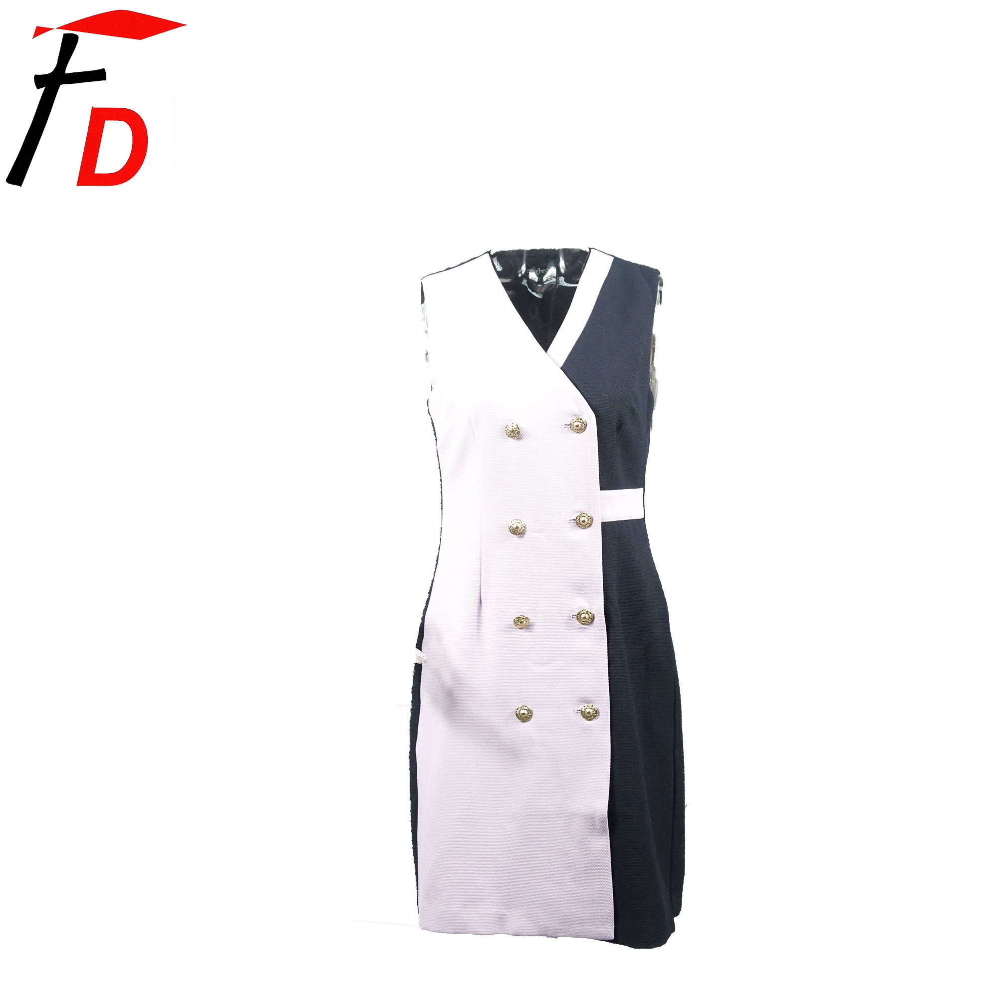 Low MOQ polyester navy Office Sweet Summer Autumn Sleeveless Ladies Dress Clothes