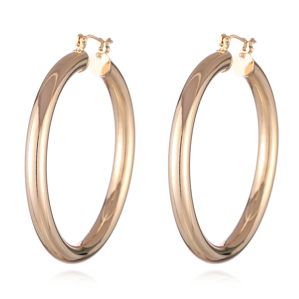 Fashion jewelry 2020 earrings copper base 14 karat real gold plated exaggerated round hoop earring