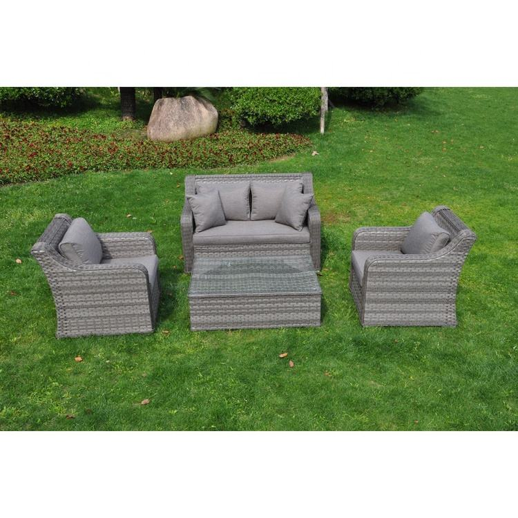 Gray Rattan Wicker Sofa Furniture Set, Modern Synthetic Leather Rattan Sofa Cushion Covers