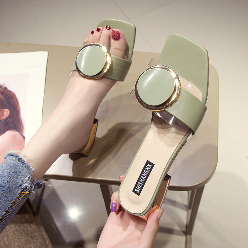 Transparent slippers women wear thick heel and one-word round buckle fashion cool slippers