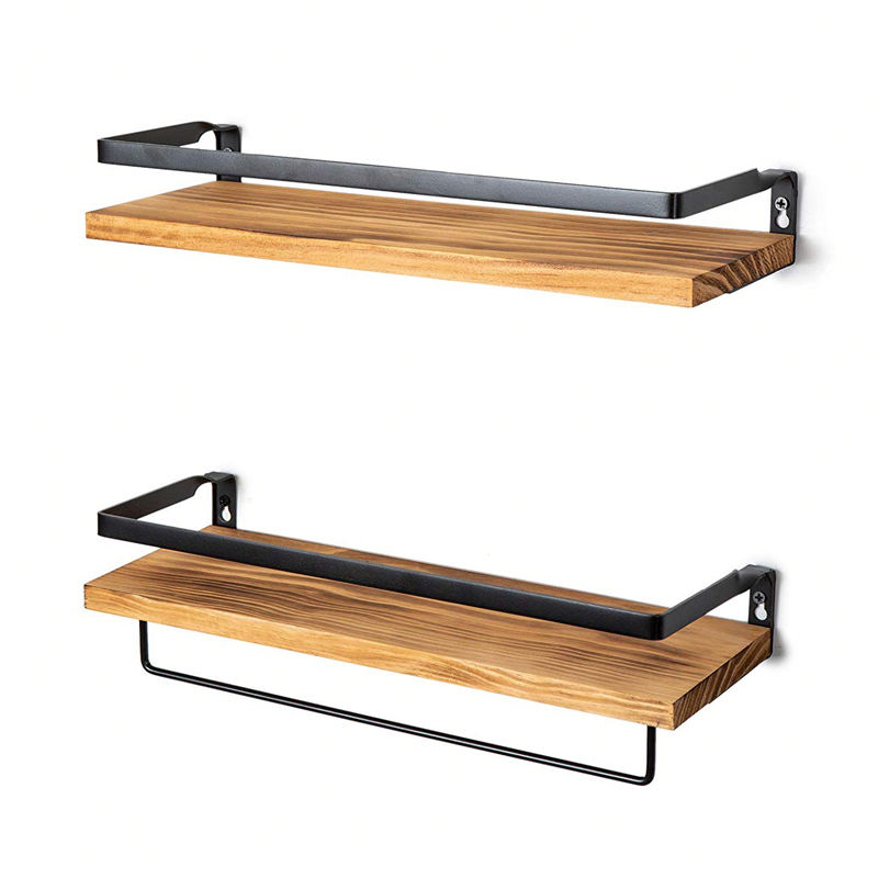 2 Tier Floating Wood Shelf Wall Mounted , Rustic Wood hanging Wall bath Shelf Set of 2