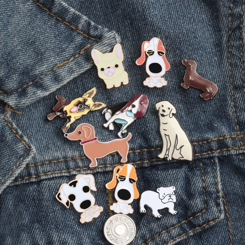 hot sell small dog Metal Badge Logo Cartoon Hard Enamel Custom Glitter Lapel brooch Pin