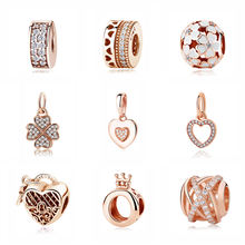 Rose Gold Charm Bead Dangle Pendant Spacer Clip Charms Fit Pandora Bracelets Women DIY Silver Jewelry