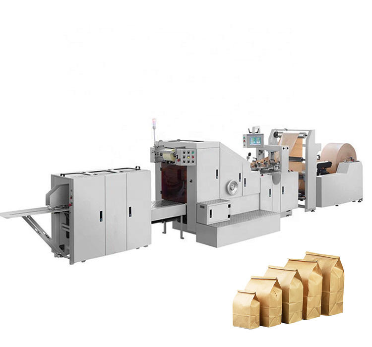 Fully Automatic High Speed Square Bottom Food Paper Bag Making Machine CE