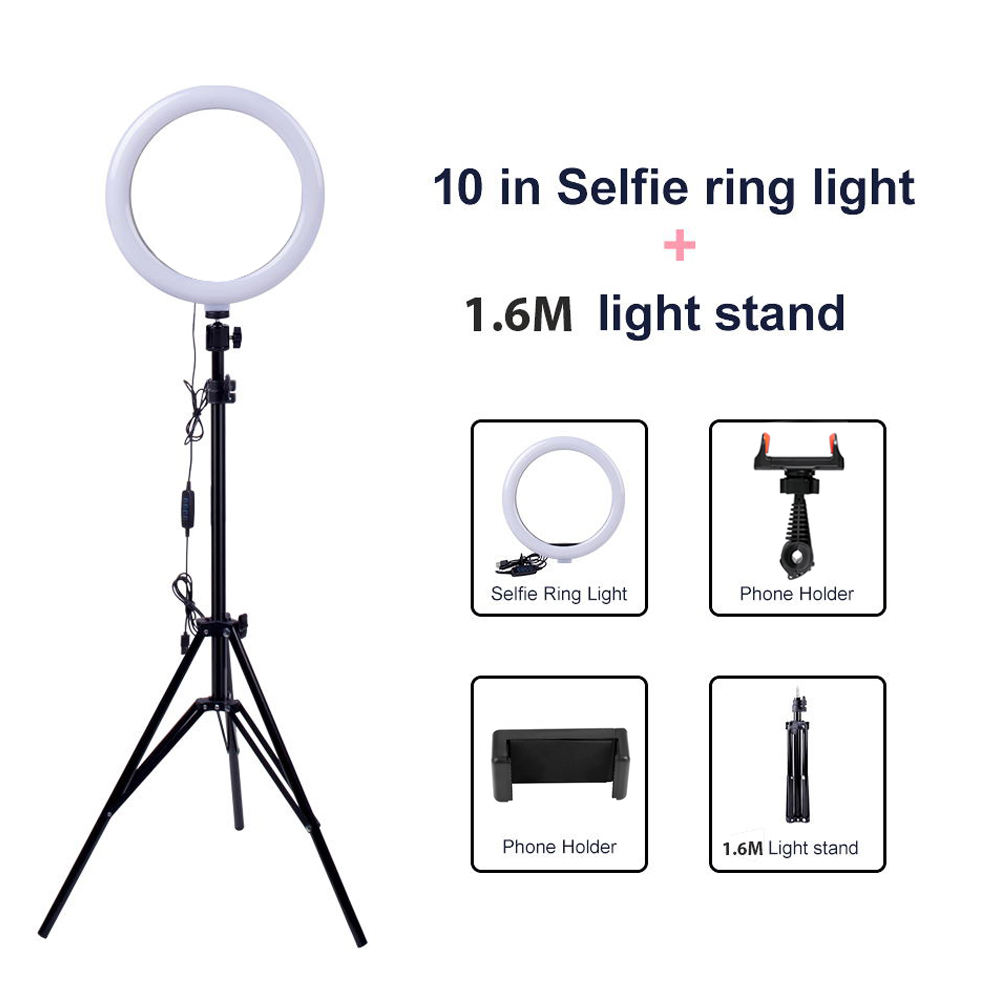 Hot Deal Led Ring Light Light Ring With Tripod Chuanglong 10 Inch Led Selfie Photography Dimmable Selfie Ring Light With 1.6M Tripod Stand Ring Light With Stand Ring Light