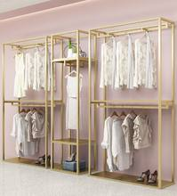 Hot Sale Modern Wall Mounted Used Stainless Steel Gold Clothing Store Display Hanger Racks For Garment Sale*