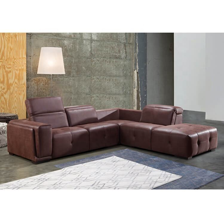 Living Room American Brown Modern Luxury Genuine Leather Sectional Set