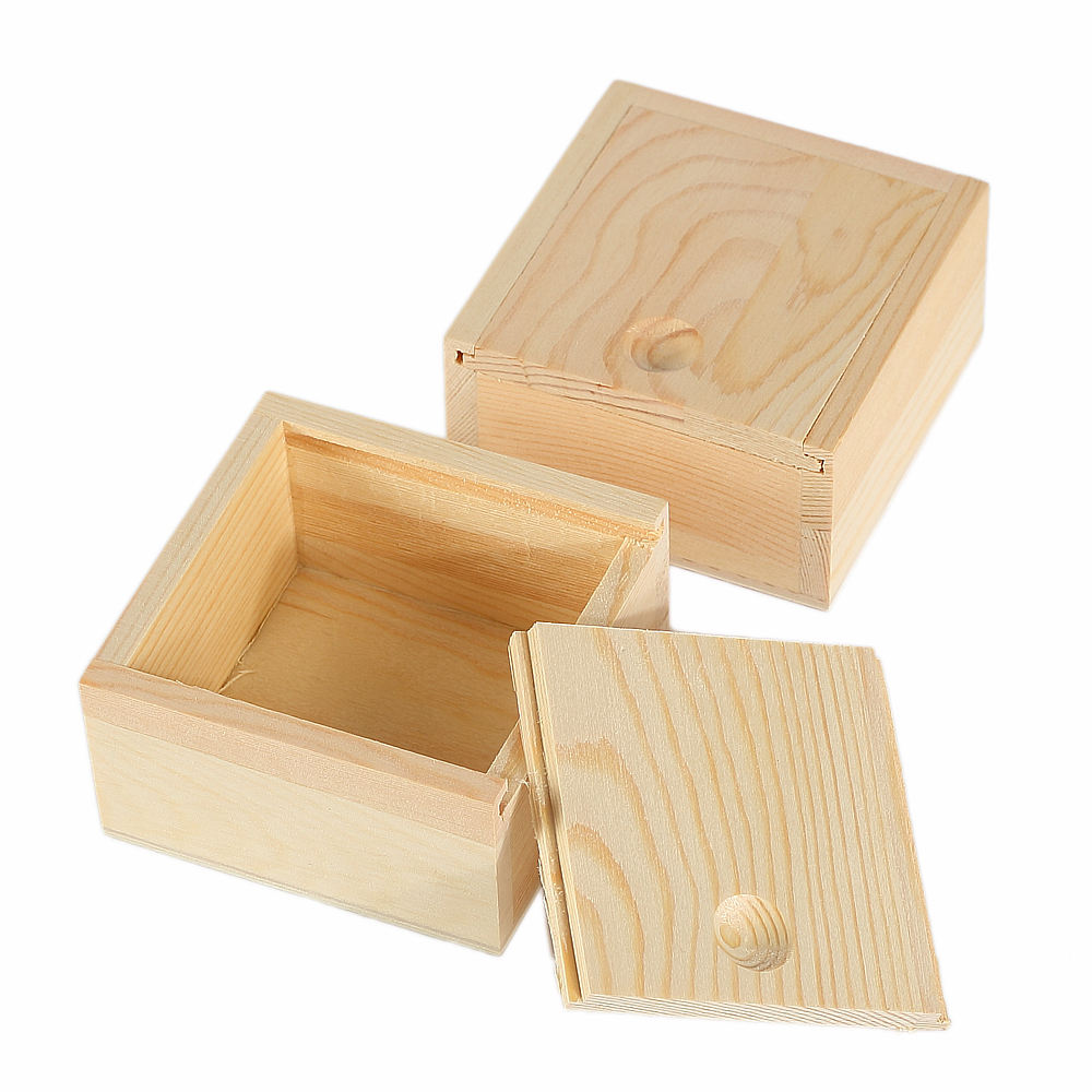 Natural Antique Small Popular Single Pine Wood Sliding Lid Storage Soap Jewelry Gift Box