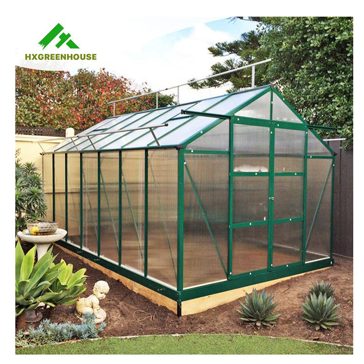 Manufacturer sale commercial aluminium alloy modern outdoor modular green house kit pc sheet small polycarbonate greenhouse