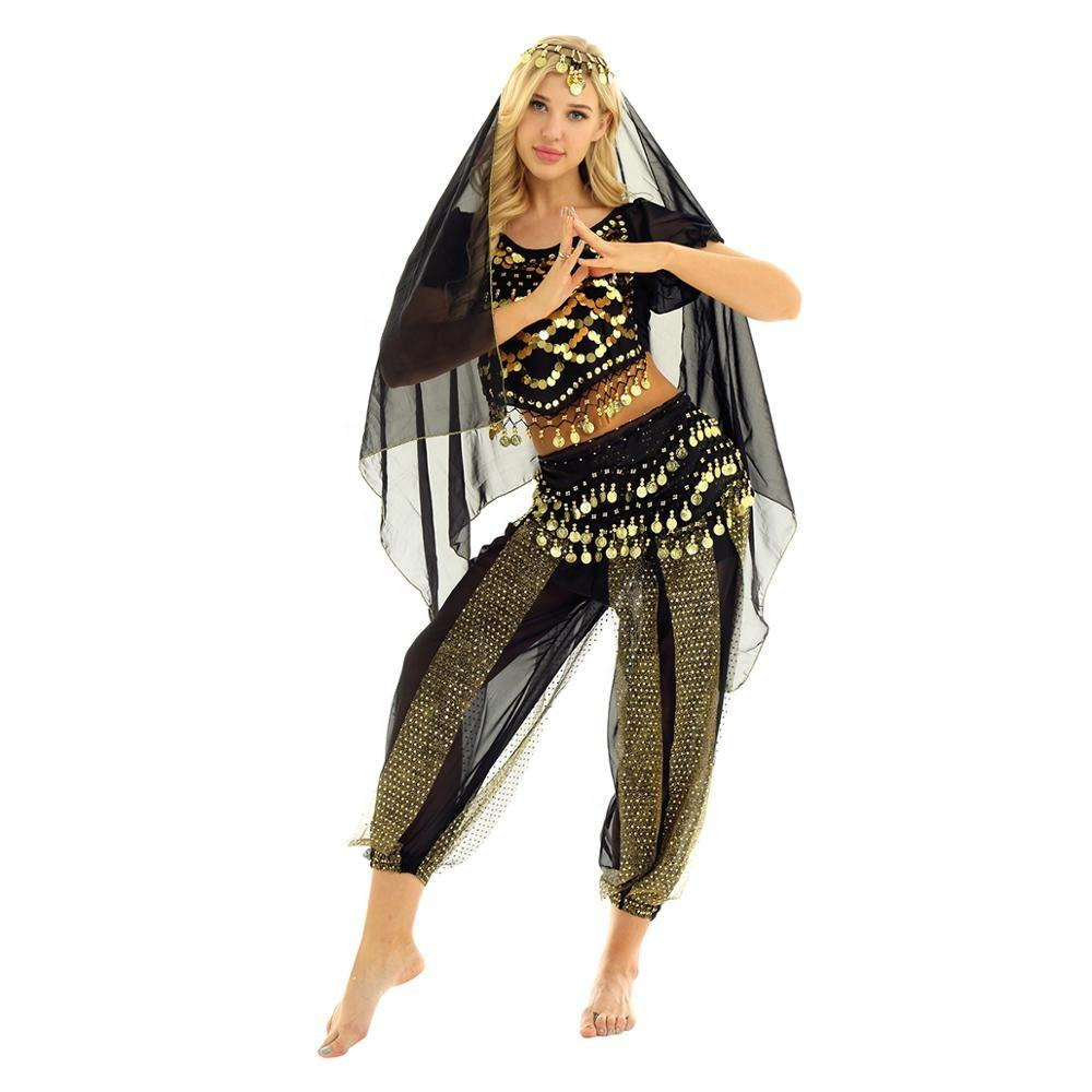 4pcs/set Women Indian Belly Dance Costumes India Short Lanterns Sleeves Coins Top With Harem Pants Hip Scarf And Head Scarf