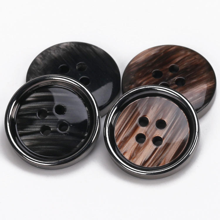 Plastic resin 4 holes brown and black buttons