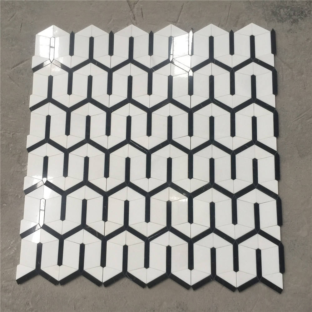 coast supply black and white floor hexagon flower marble mixed shell waterjet mosaic tile