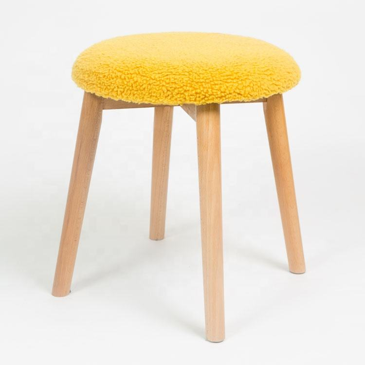 Modern Foot Stool Sofa Soft Pouf Wood High Legs Furry Round Ottoman