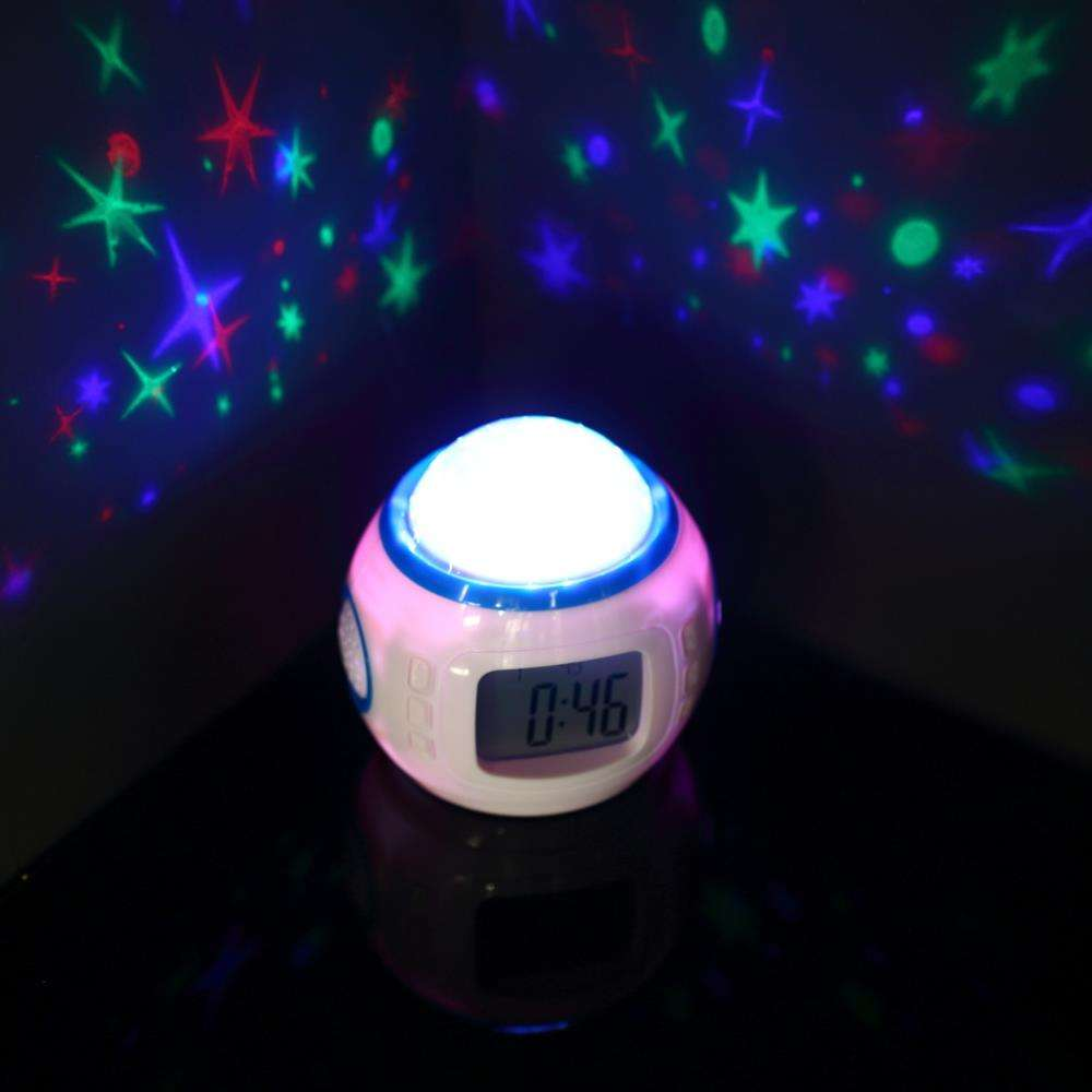 Music Starry Star Sky Digital Led Projection Projector Alarm Clock Calendar star alarm clock night light projector star for kids