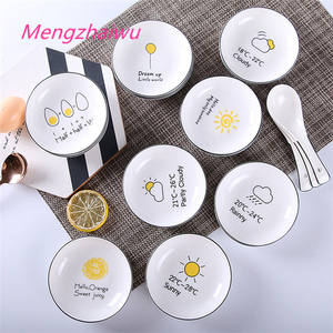 South korea creative household products kitchen funny cartoon Hand painted weather eco friendly ceramic plates tableware