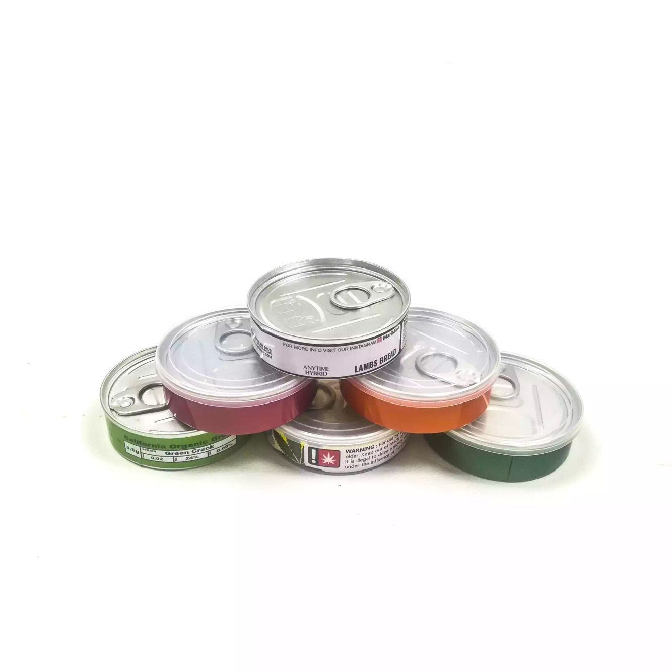 self seal aluminum peel off lid press tin cans with black or clear lid