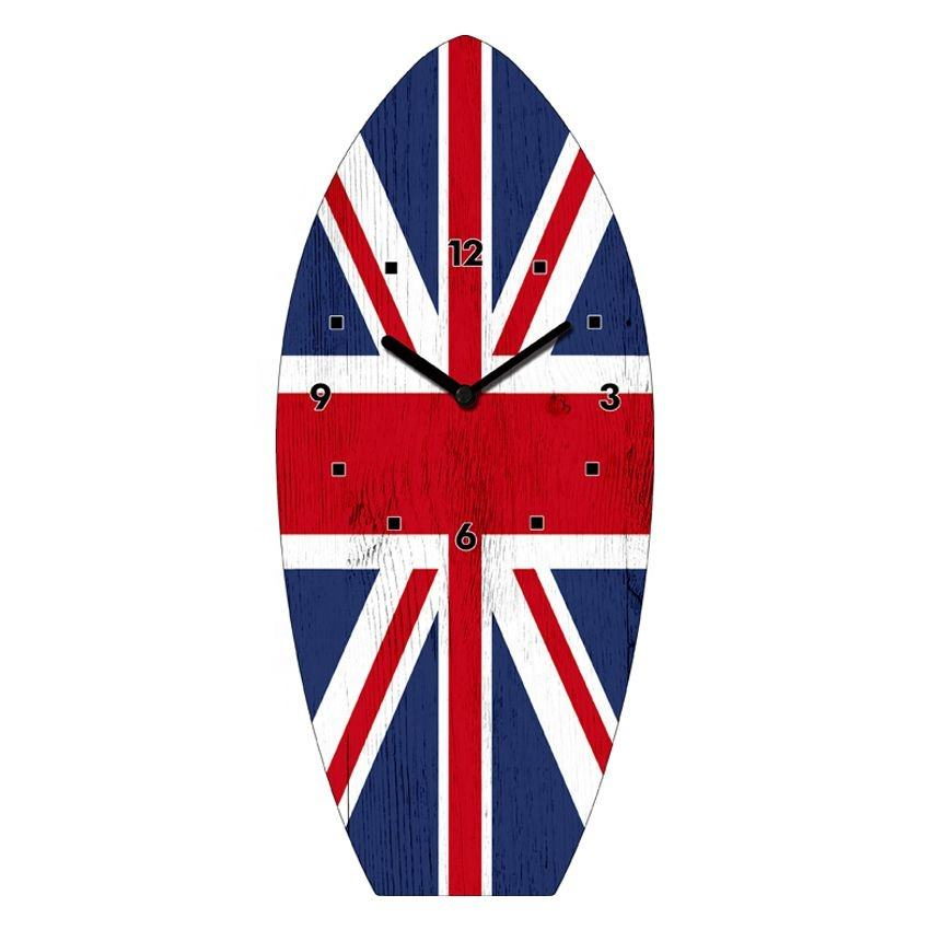 Union Jack UK National Flag Customized Surfboard Shape Glass Table Clock For Wall Decor