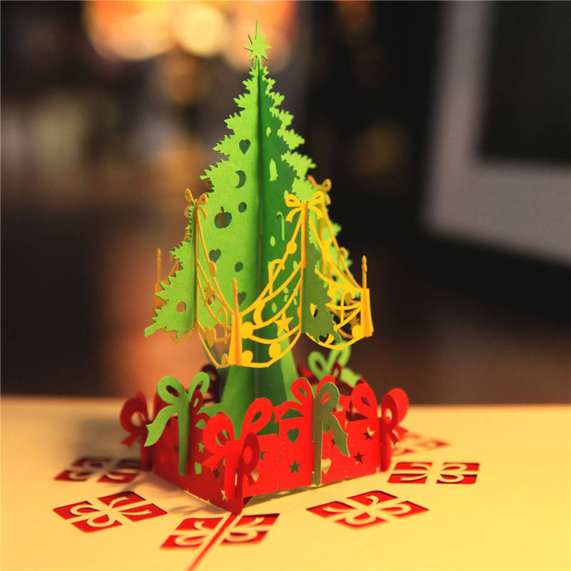 3D Pop Up Greeting Cards With Envelope Merry Christmas Postcard Gift for New Year