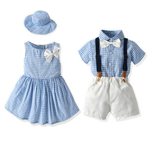 Coldker Cute Summer Family Matching Clothes Brother Sister Outfits Set Overall Sister Clothes Set