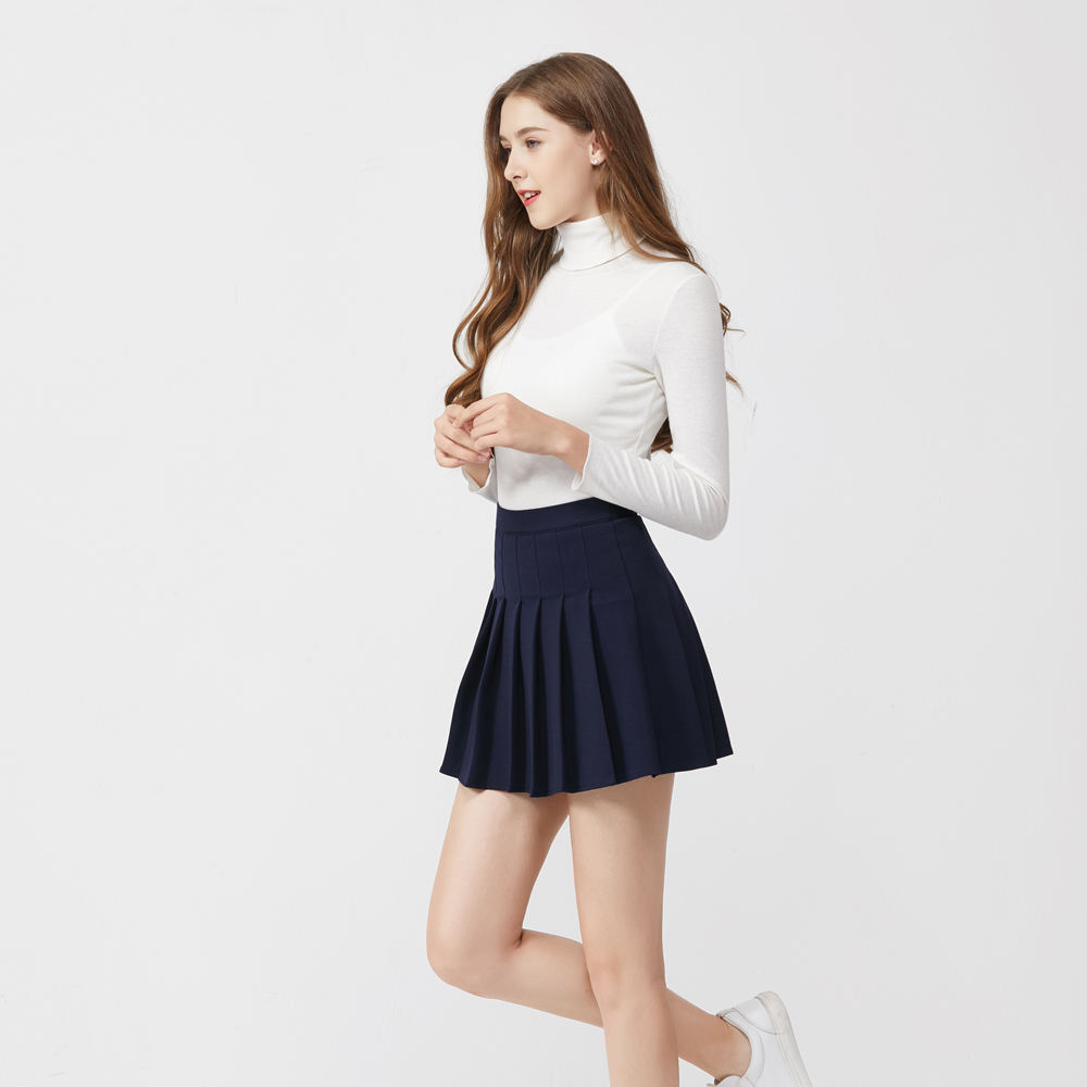 Japanese school girls pleated skirts women high waist long legs short skirt solid color A-line skirt
